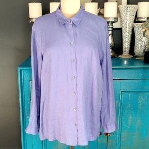 J.Jill linen long sleeve button down top